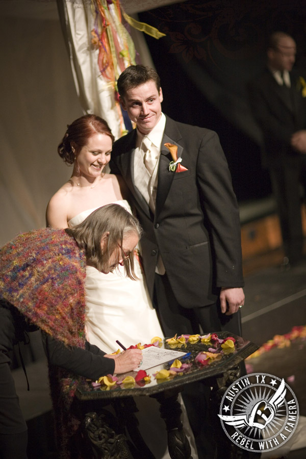 Eclectic One World Theatre wedding photos