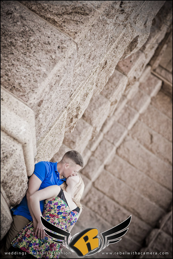 Tyler and Calla's mirthful engagement pictures at the Texas state capital in Austin