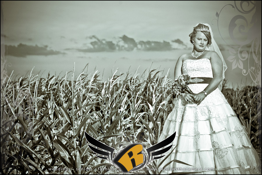 edgy and bold bridal pictures in corn fields and the high way in granger texas
