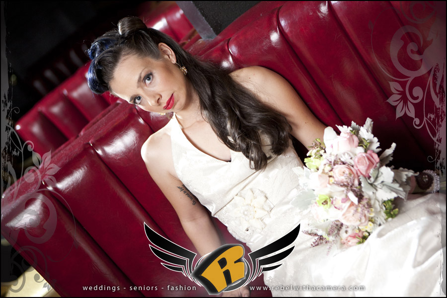 Fun retro bridal pictures at the Highball bowling alley in austin texas