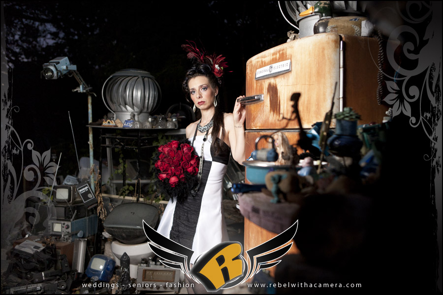 model portfolio photos from the cathedral of junk in south austin texas