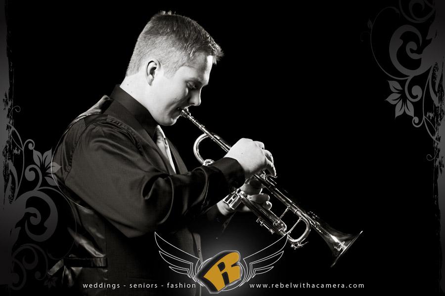 Long Center senior portraits of trumpet player
