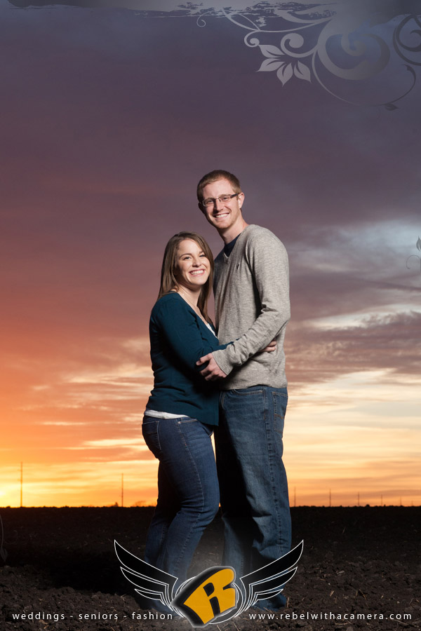 Engagement session with beautiful sunset in Taylor, Texas