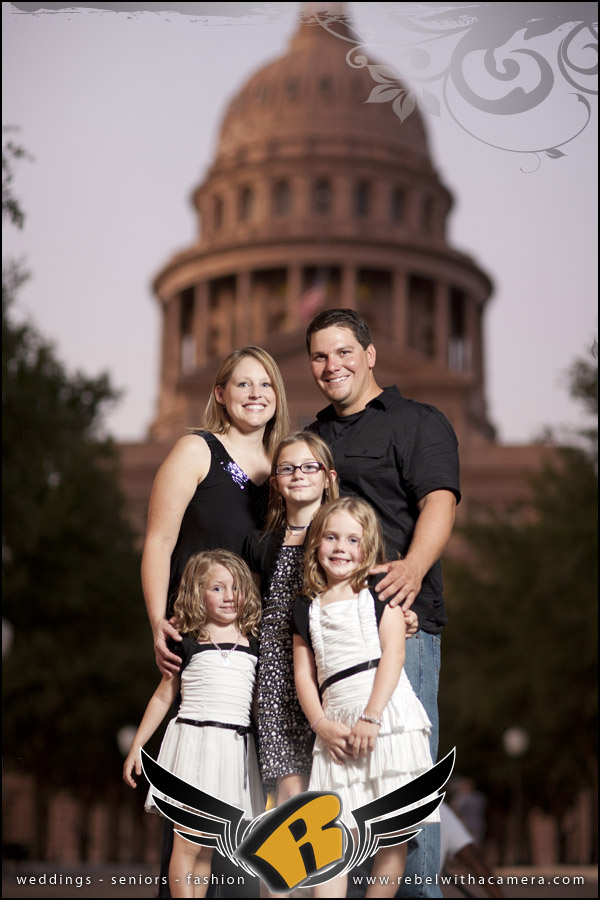 Engagement portraits with kids at the Texas state Capitol in Austin