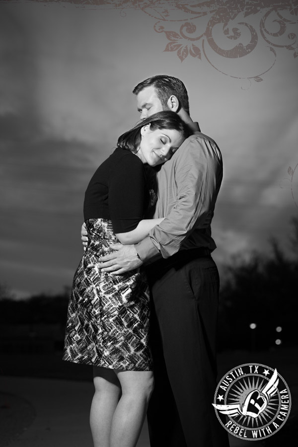 Dramatic engagement pictures at the long center austin
