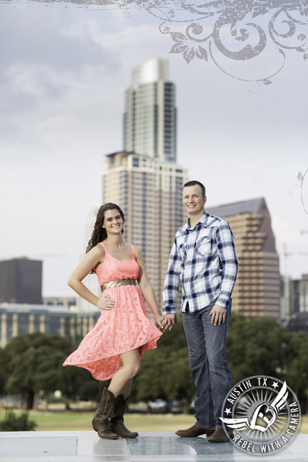 Austin skyline engagement pictures at the Long Center