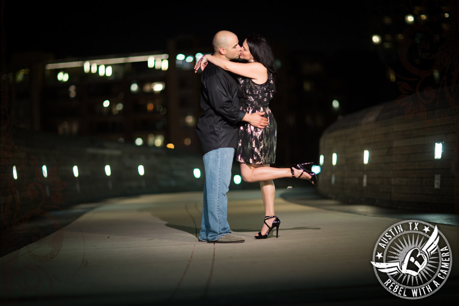 Playful engagement photos at the Long Center in Austin