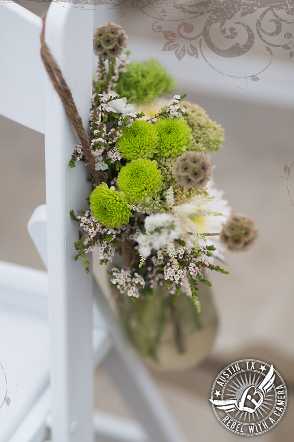 Shabby chic wedding floral design at Cedar Bend Events