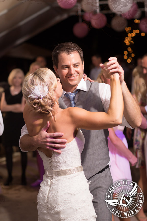 Wedding photos of  Byrne Rock DJ at Cedar Bend Events for reception.