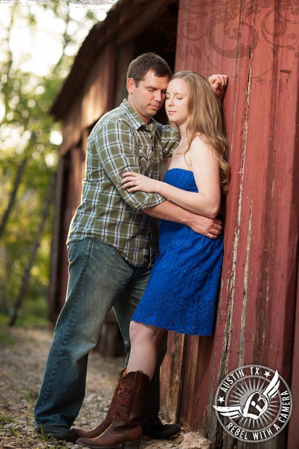 Rustic Texas engagement portraits
