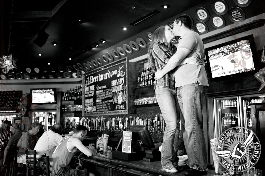 Engagement portraits at Flying Saucer in Austin, Texas