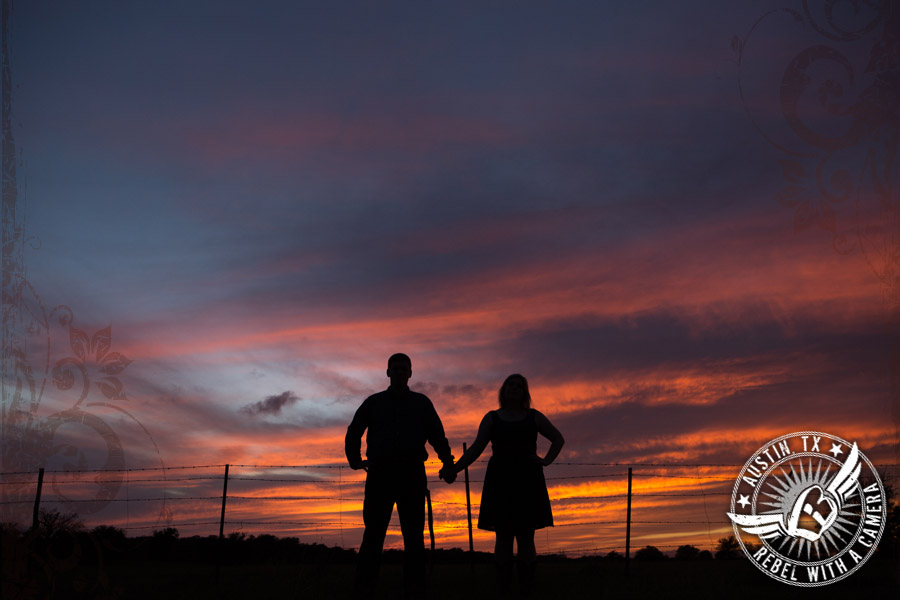 Rustic sunset engagement pictures in Texas