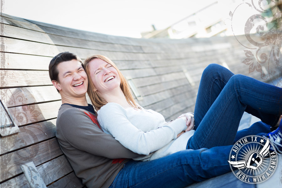 Engagement pictures at the Lamar Pedestrian Bridge in Austin