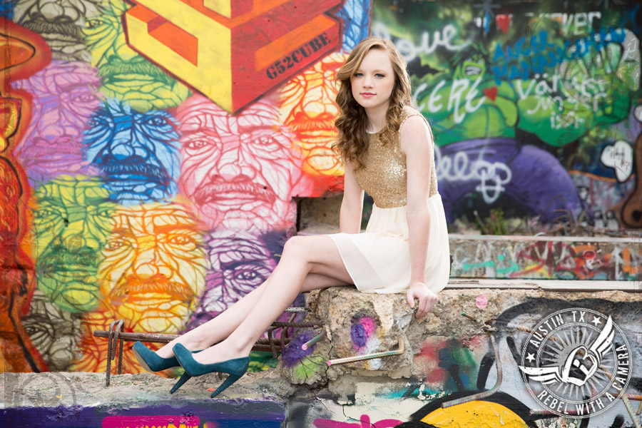 Senior portraits at Castle Hill Graffiti in Austin