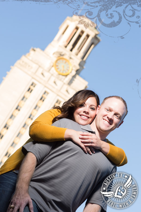 Fabulous engagement portraits on the UT Campus