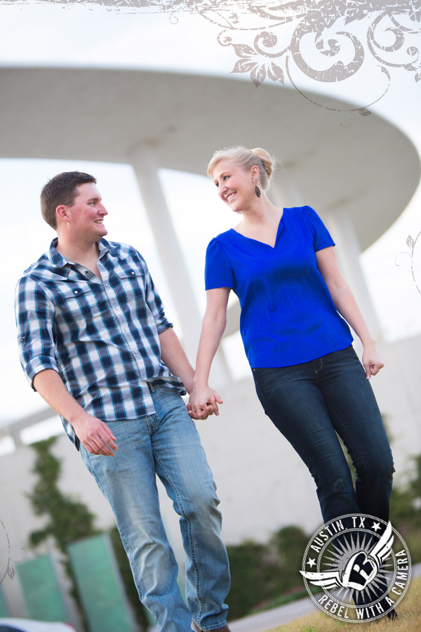Fun Engagement pictures at the Long Center in Austin