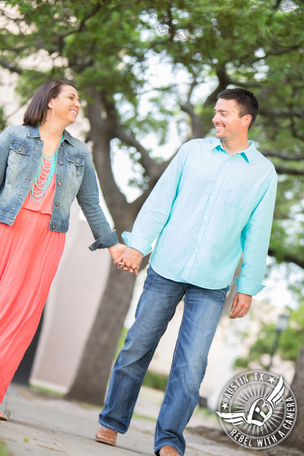 Fun engagement portraits in Austin