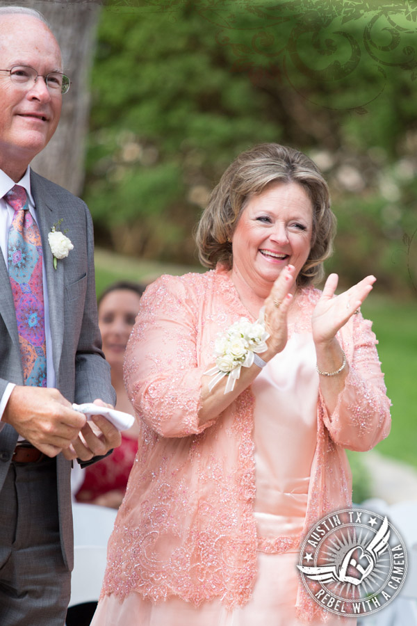 Happy mother of the bride dressed in Coutures by Laura