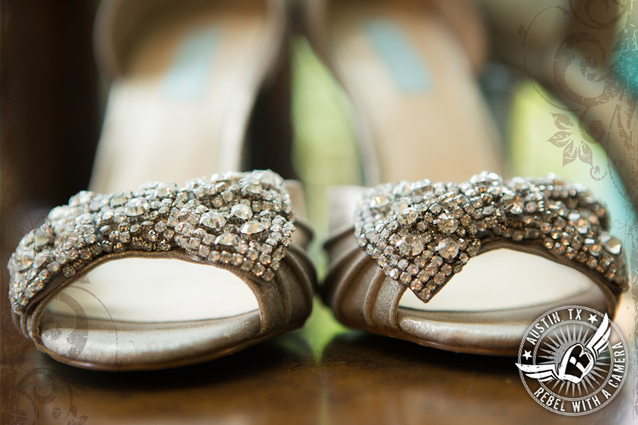 Sparkly shoes for the bride in the bride's room at Nature's Point