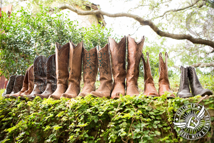 The bride and bridesmaids' boots at Nature's Point