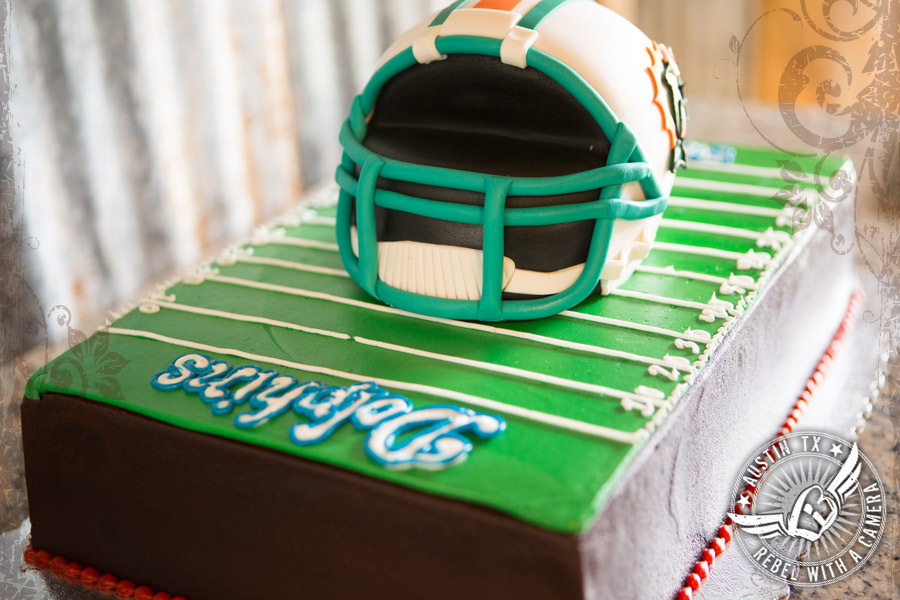 Dolphins football team groom's cake by Sweet Treets Bakery at Vista West Ranch
