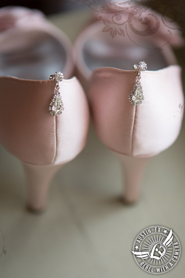 Pale pink bridal shoes in bridal room at Vista West Ranch