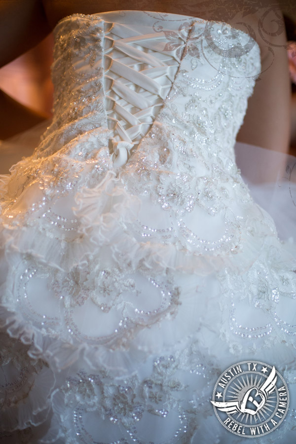 Corset lace up wedding gown from David's Bridal in the bridal room at Vista West Ranch