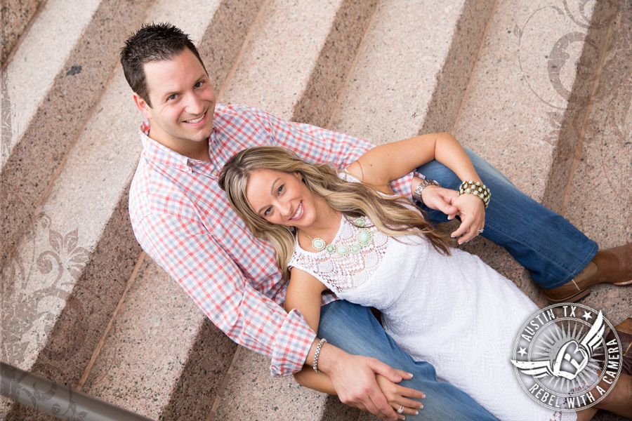 Downtown Austin engagement portraits at the Texas State Capitol