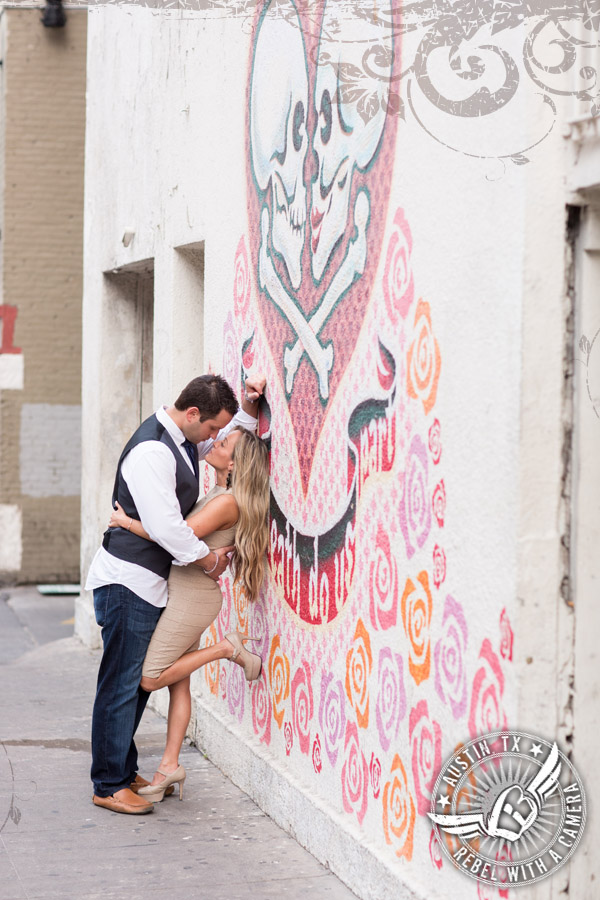 "Downtown Austin engagement portraits ""Til Death Do us Part"" mural"