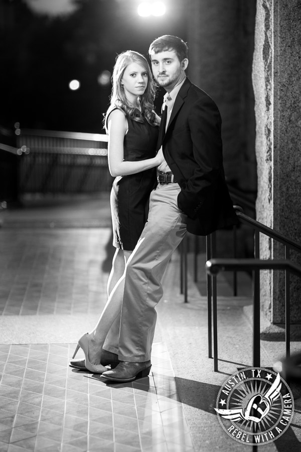 Dramatic engagement portraits at the Texas State Capitol