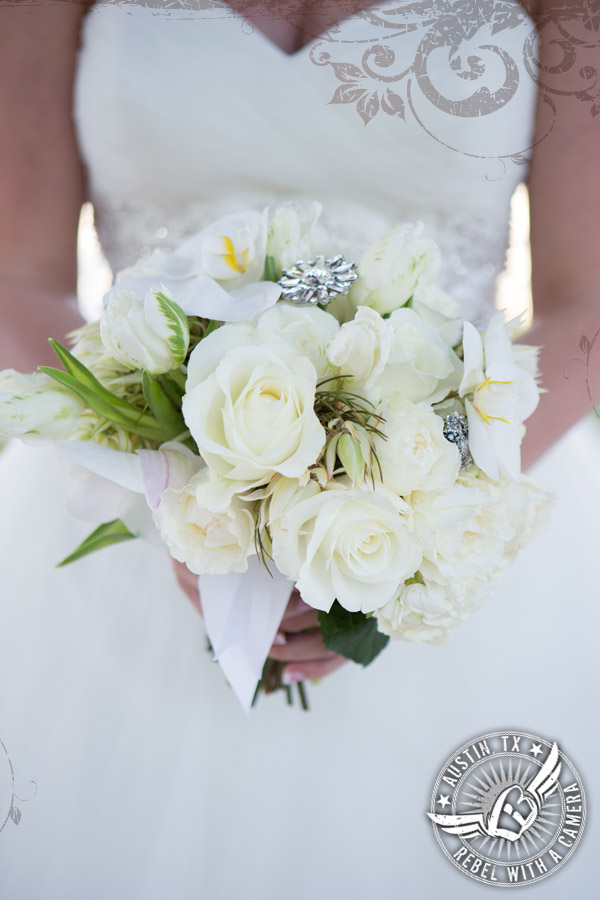 Rustic glam white bridal bouquet by Brenda Abbott Floral Design at Gabriel Springs Event Center in Georgetown, Texas