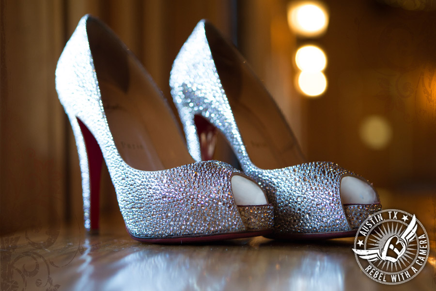 Jewel studded Christian Louboutin shoes for the bride at Gabriel Springs Event Center in Georgetown, Texas
