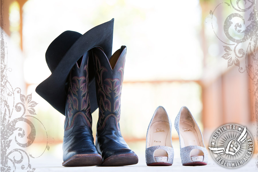 Glamorous Christian Louboutin shoes for the bride and cowboy boots for the groom at Gabriel Springs Event Center in Georgetown, Texas