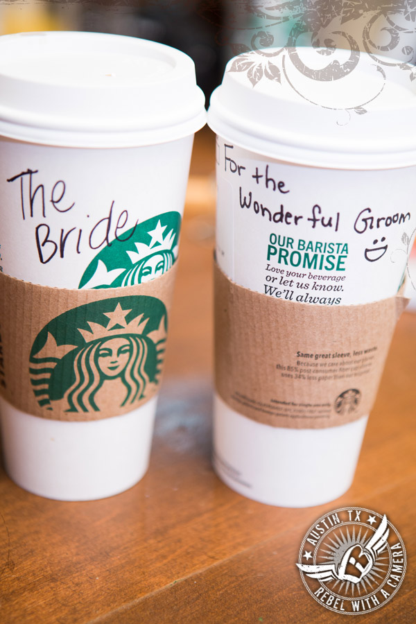 Starbucks for the bride and groom at Gabriel Springs Event Center in Georgetown, Texas