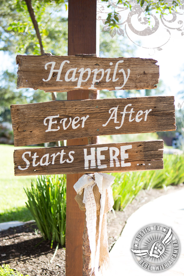 'Happily Ever After Starts Here' wedding sign at Gabriel Springs Event Center in Georgetown, Texas