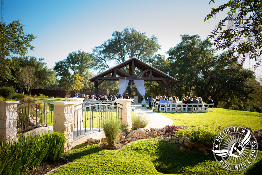 Wedding ceremony site at Gabriel Springs Event Center in Georgetown, Texas