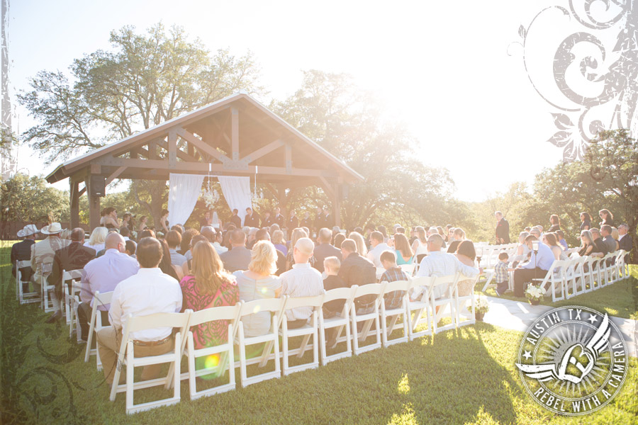 Wedding ceremony at Gabriel Springs Event Center in Georgetown, Texas