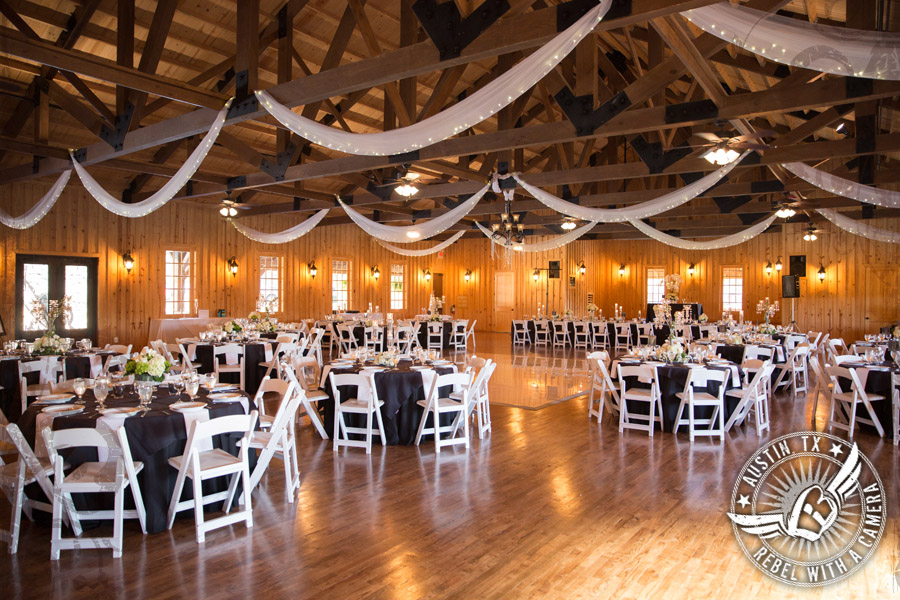 Rustic glam wedding reception at Gabriel Springs Event Center in Georgetown, Texas