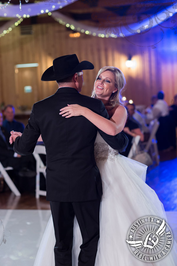 Bride and groom's first dance at Gabriel Springs Event Center in Georgetown, Texas