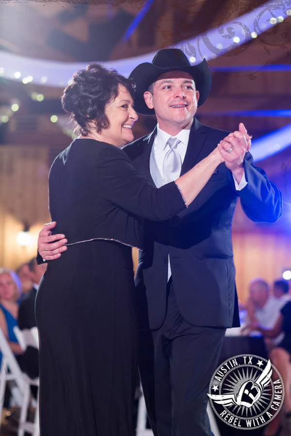 Groom mother dance at wedding reception at Gabriel Springs Event Center in Georgetown, Texas