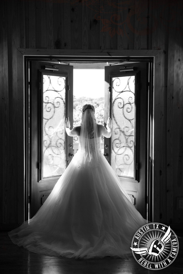Bride in wedding pictures at Gabriel Springs Event Center in Georgetown, Texas