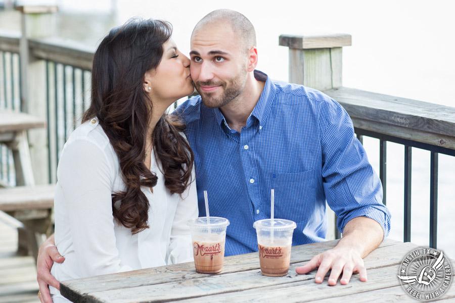 Austin, Texas, engagement portraits at Mozart's Coffee