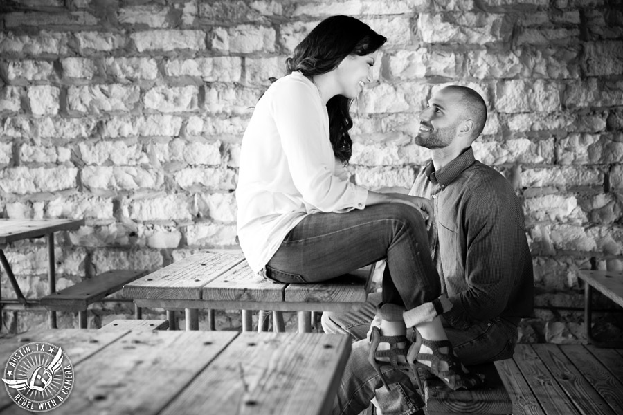 Austin, Texas, engagement portraits at Mozart's Coffee