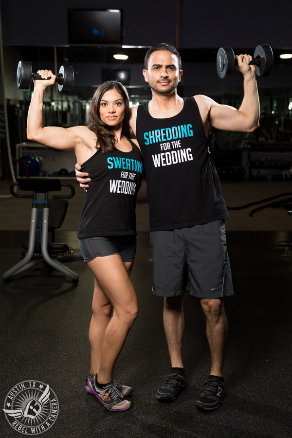 Fitness engagement portraits at the gym in austin